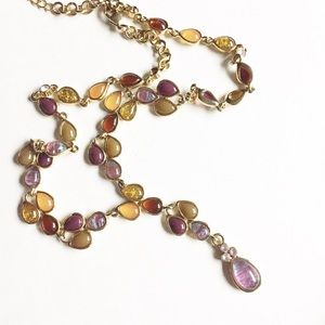 Iridescent Glass Beaded Lariat Necklace
